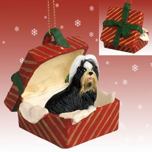 Raining Cats And Dogs Shih Tzu Gift Box Christmas Ornament