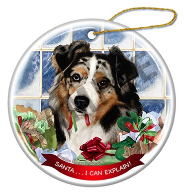 Australian Shepherd Christmas Ornament.Australian Shepherd Santa I Can Explain Dog Ornament Click For More Colors