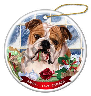 - Raining Cats And Dogs Santa I Can Explain Bulldog Christmas Ornament