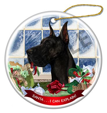 Raining Cats and Dogs | Santa I Can Explain Great Dane Dog Christmas  Ornament - Raining Cats And Dogs Santa I Can Explain Great Dane Dog Christmas
