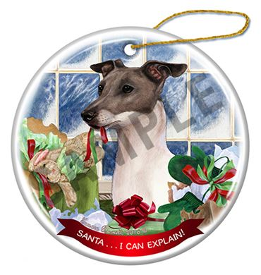 Raining Cats And Dogs Santa I Can Explain Italian Greyhound Dog Christmas Ornament