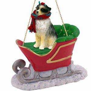 Australian Shepherd Christmas Ornament.Australian Shepherd Christmas Ornament With Sleigh Click For More Breed Options