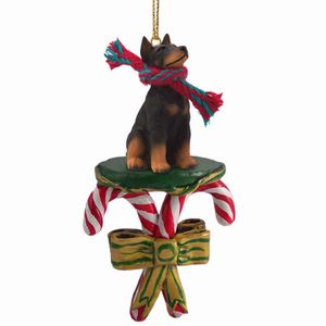 Raining Cats and Dogs | Candy Cane Doberman Dog Christmas Ornament