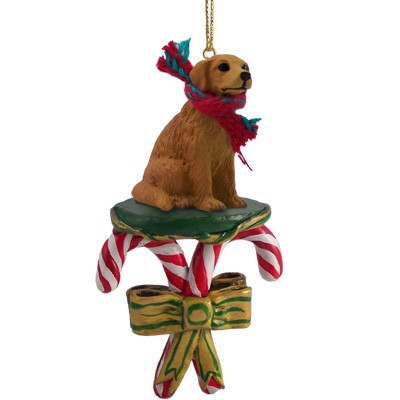 candy cane golden retriever christmas ornament