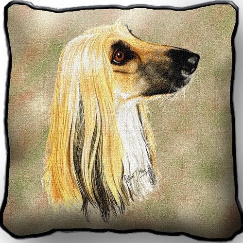 Raining Cats And Dogs Afghan Hound Tapestry Pillow Made In The Usa