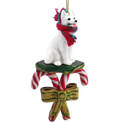 Raining Cats and Dogs | Candy Cane White German Shepherd Dog Christmas Ornament