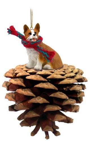 pine cone welsh corgi pembroke dog christmas ornament - Corgi Christmas Ornaments