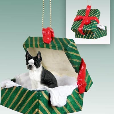 - Raining Cats And Dogs Boston Terrier Green Gift Box Christmas Ornament