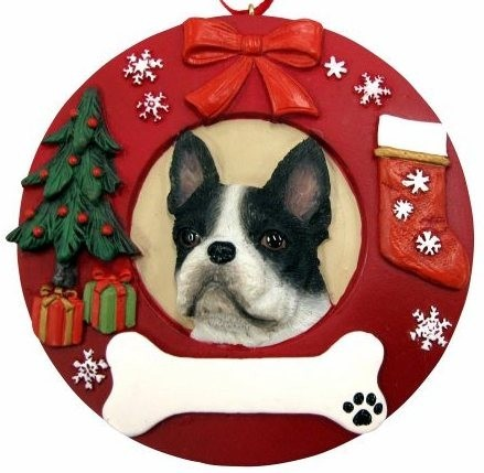 raining cats and dogs boston terrier christmas ornament that can be personalized