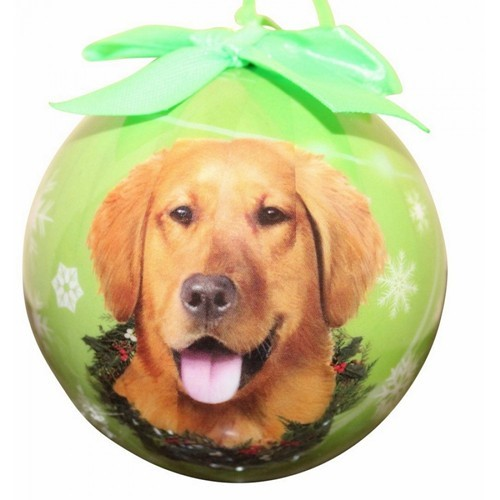 raining cats and dogs golden retriever ball dog christmas ornament