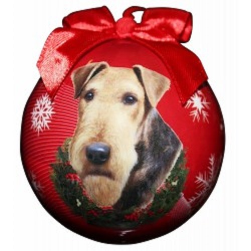 Raining Cats and Dogs | Airedale Terrier Ball Christmas Ornament