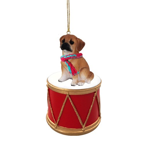 - Raining Cats And Dogs Puggle Drum Dog Christmas Ornament