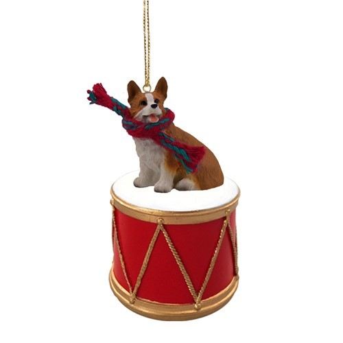 raining cats and dogs welsh corgi pembroke drum dog christmas ornament - Corgi Christmas Ornaments