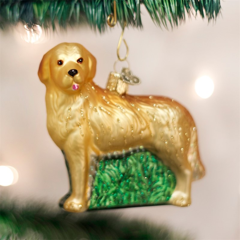 raining cats and dogs golden retriever old world christmas dog ornament