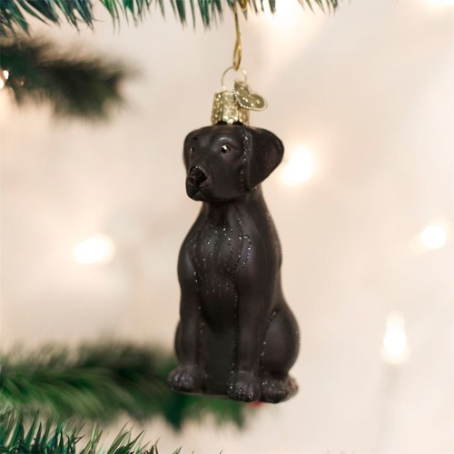 black lab vintage dog christmas ornament - Black Lab Christmas Ornament