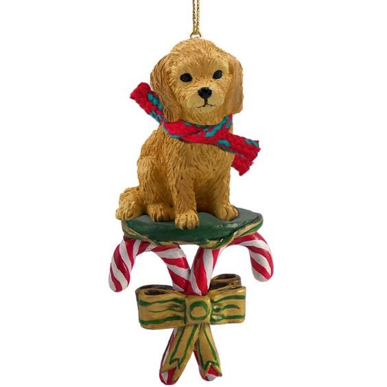 candy cane goldendoodle christmas ornament - Goldendoodle Christmas Ornament