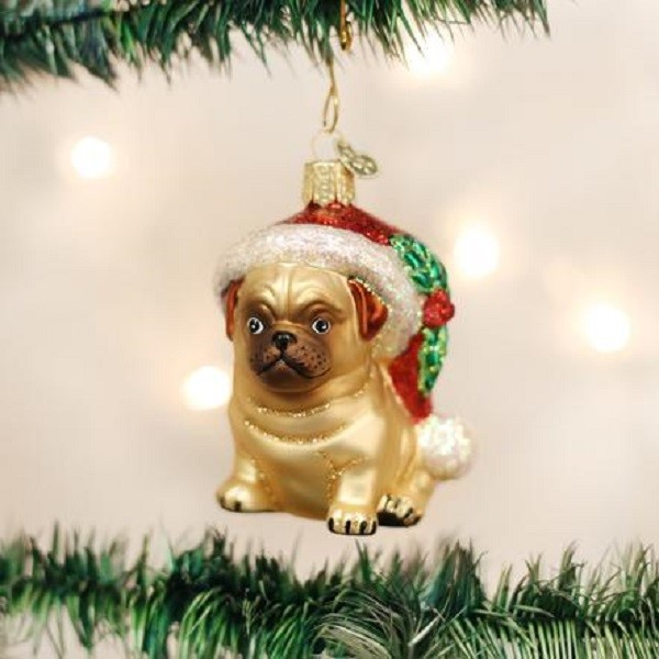 raining cats and dogs pug vintage christmas ornament