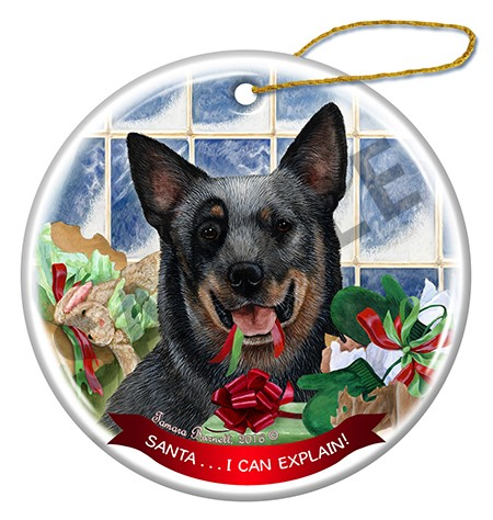 Raining Cats and Dogs | Australian Cattle Dog Santa I Can Explain Christmas Ornament