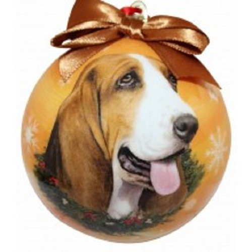 Raining Cats and Dogs | Basset Hound Ball Christmas Ornament