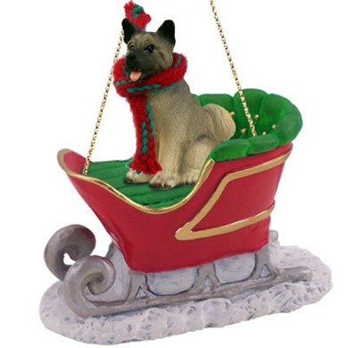 Akita Christmas Ornament with Sleigh