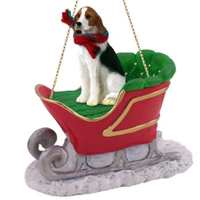 American Foxhound Christmas Ornament with Sleigh