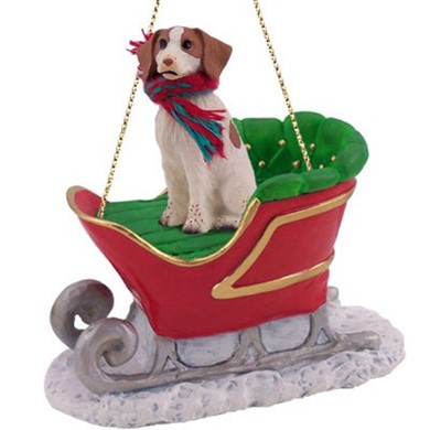 Brittany Christmas Ornament with Sleigh