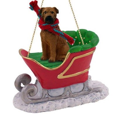 Bullmastiff Christmas Ornament with Sleigh