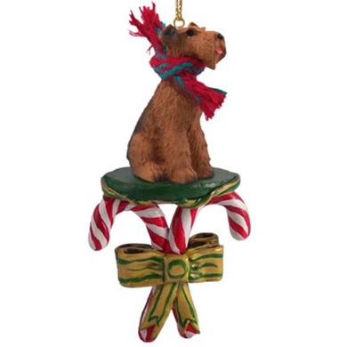 Candy Cane Airedale Christmas Ornament