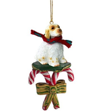 Candy Cane Clumber Spaniel Christmas Ornament