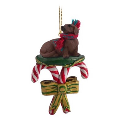 Candy Cane Dachshund Christmas Ornament- click for more breed colors