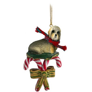 Candy Cane Dandie Dinmont Terrier Christmas Ornament
