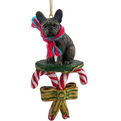 Candy Cane French Bulldog Christmas Ornament