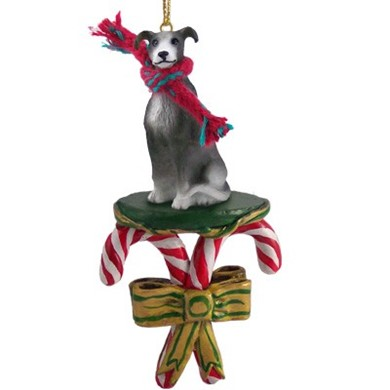 Candy Cane Greyhound Christmas Ornament