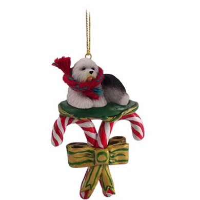 Candy Cane Old English Sheepdog Christmas Ornament