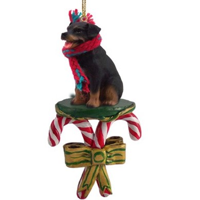 Candy Cane Rottweiler Christmas Ornament