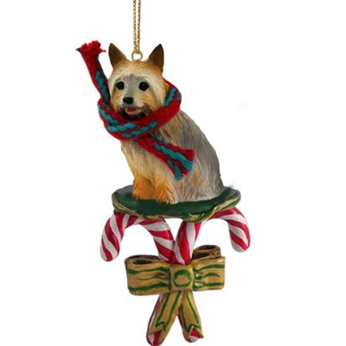 Candy Cane Silky Terrier Christmas Ornament