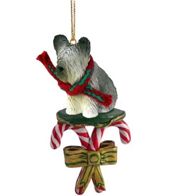 Candy Cane Skye Terrier Christmas Ornament