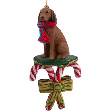 Candy Cane Vizsla Christmas Ornament