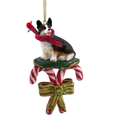Candy Cane Welsh Corgi Cardigan Christmas Ornament