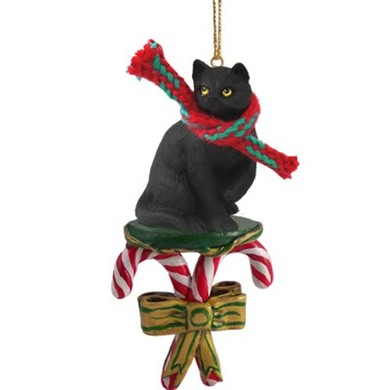 Candy Cane Black Cat Christmas Ornament