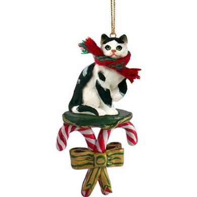 Candy Cane Black and White Cat Christmas Ornament