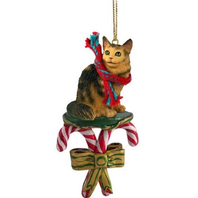 Candy Cane Maine Coon Christmas Ornament