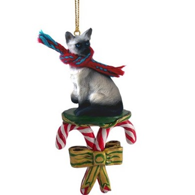 Candy Cane Siamese Cat Christmas Ornament