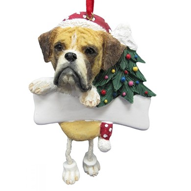 Boxer Dangling Legs Dog Christmas Ornament