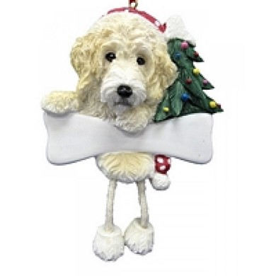 Labradoodle Dangling Legs Dog Christmas Ornament