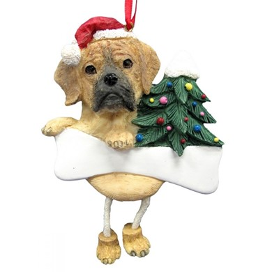 Puggle Dangling Legs Dog Christmas Ornament