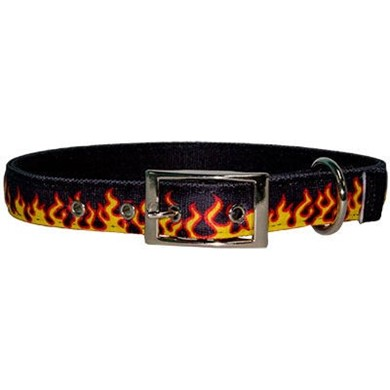 Uptown Red Flames Buckle Collar