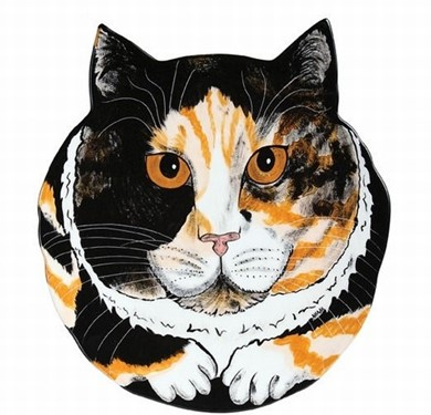 Calico Cat Decorator Plate, Rescue Me Now