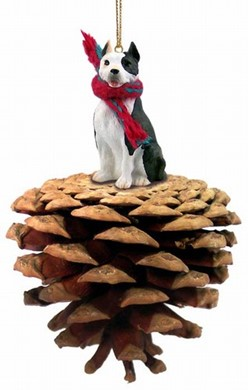Pine Cone Pit Bull Dog Christmas Ornament- click for more breed colors