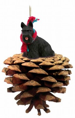 Pine Cone Scottish Terrier Dog Christmas Ornament